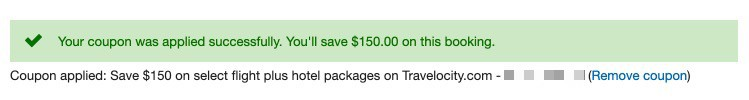 150 USD Travelocity Coupon Blurred