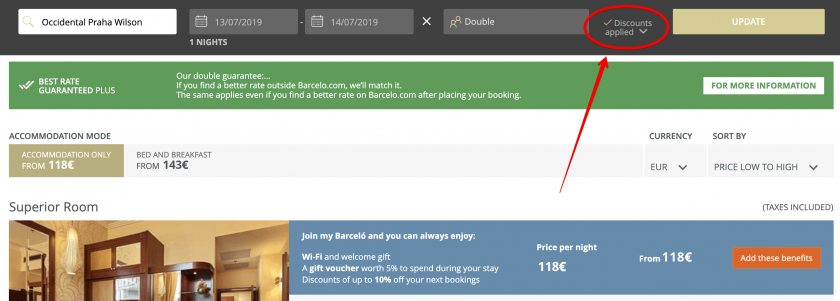 barcelo coupon applied