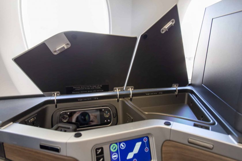 British Airways Club Suite Storage Space