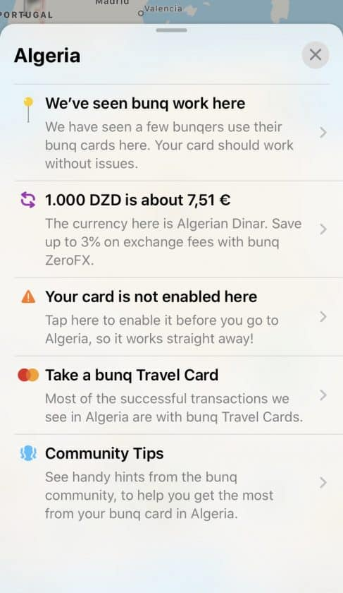 Bunq Travel Card Country information 2