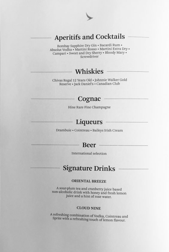 Cathay Pacific Business Class Review Menu 7