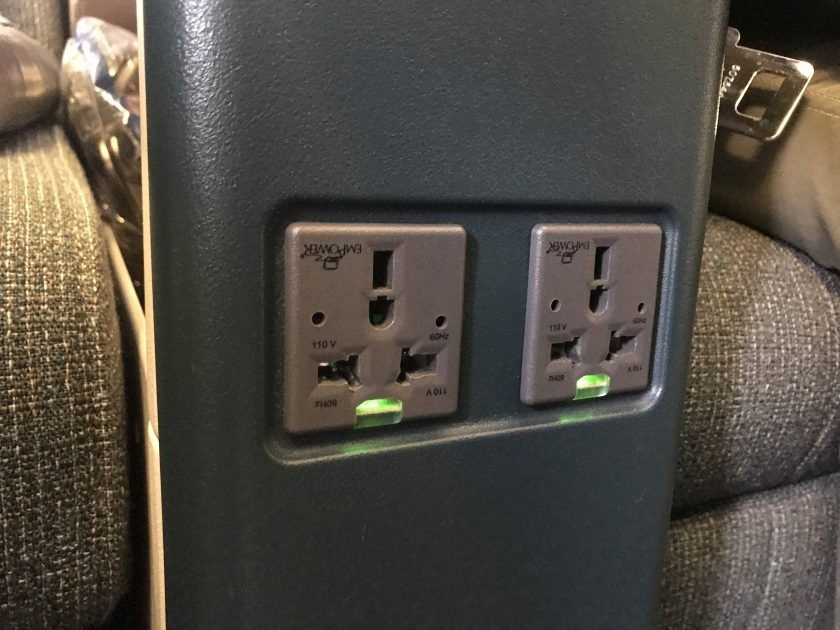 Cathay Pacific Business Class Review Seat Electrical Plugs Middle Console 2