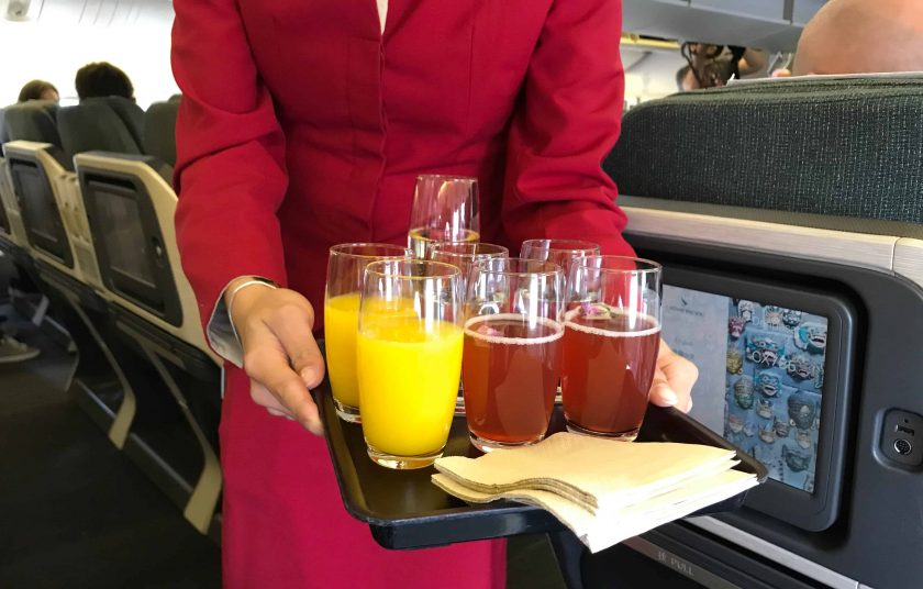 Cathay Pacific Business Class Review Welcome Drinks 1
