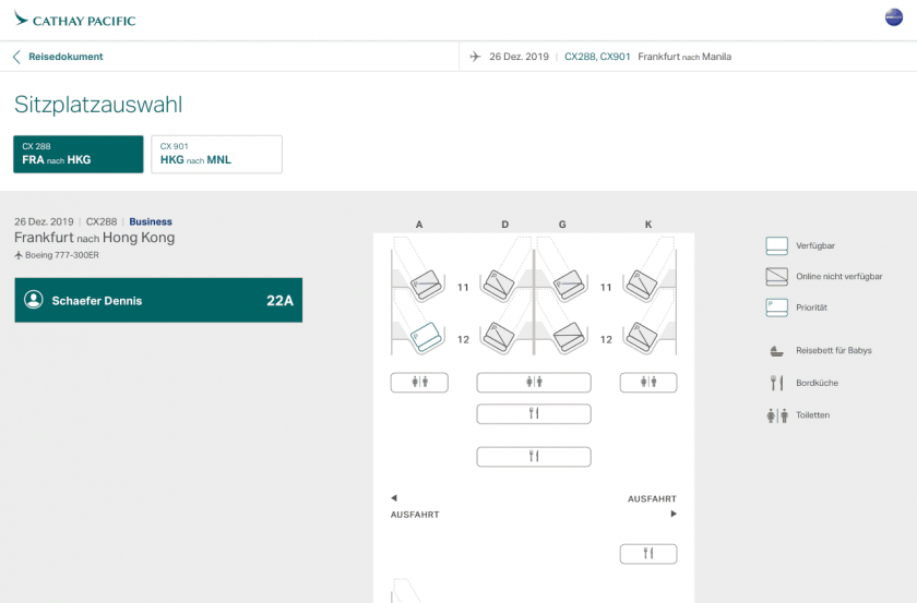 Cathay Pacific Review FRA HKG C Online Check In