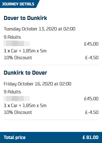 DFDS 10 Dover France Discount