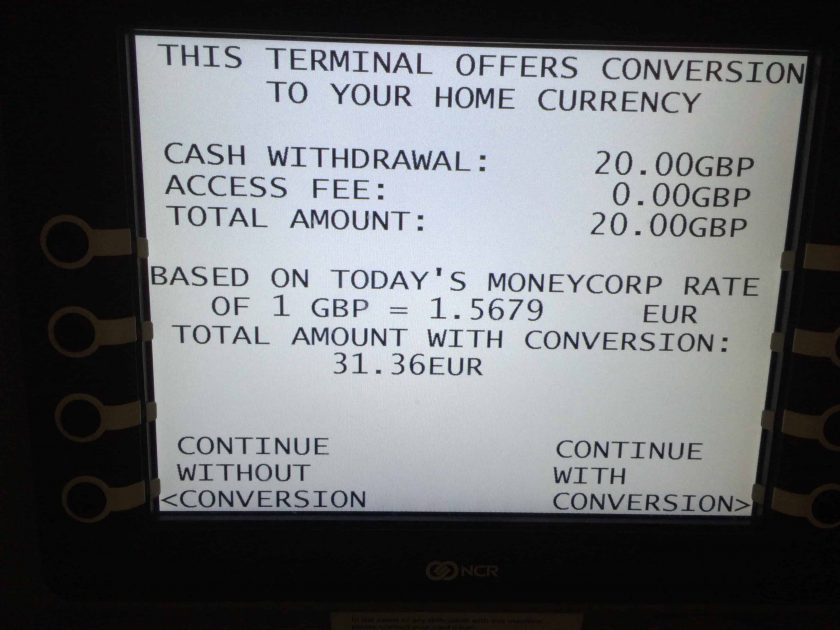 Dynamic Currency Conversion ATM