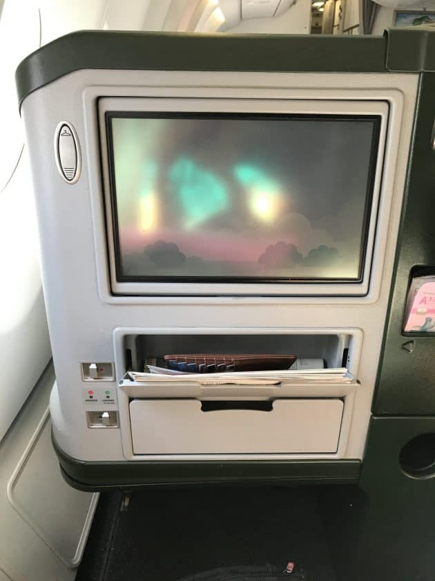 EVA Airways Medium Haul Business Class Compartments and screen