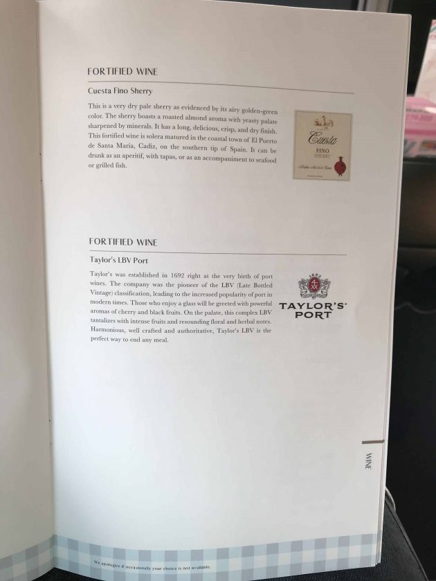 EVA Airways Medium Haul Business Class Menu 9