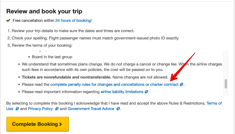 Expedia Fare Rules