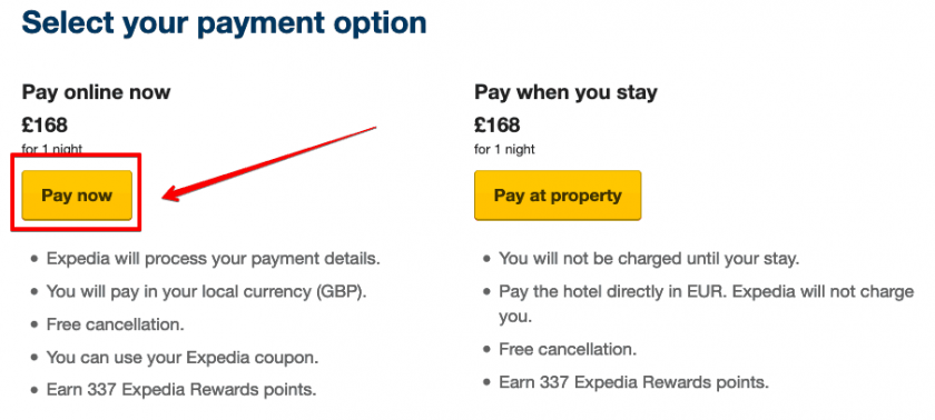 Expedia payment option