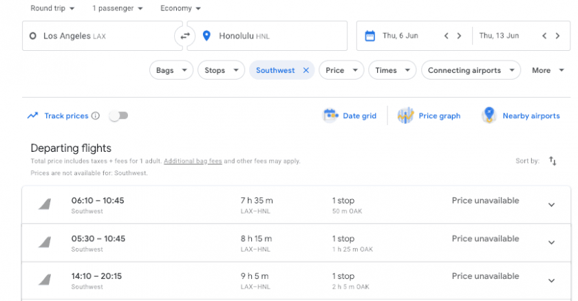 Google Flight Southwest