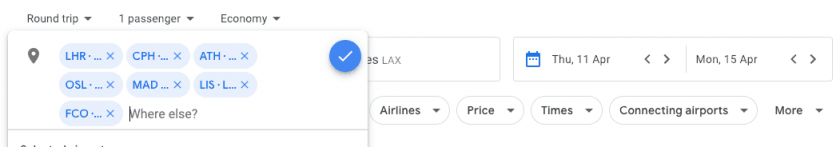 Google Flights 7 Airports