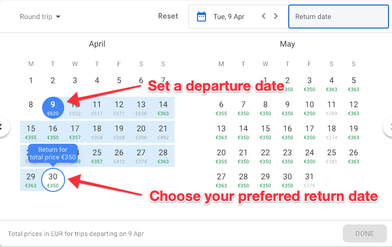 Google Flights Calender Select Dates