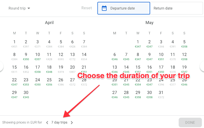 Google Flights search Calender