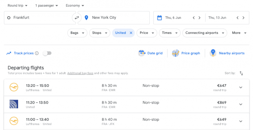 Google Flights search Code Share