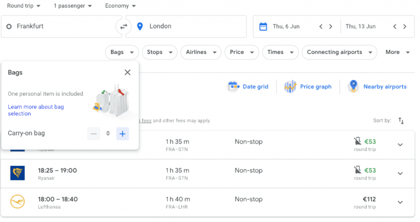 Google Flights search Hand Luggage