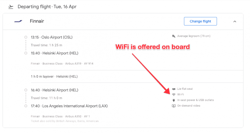 Google Flights search WiFi on Board