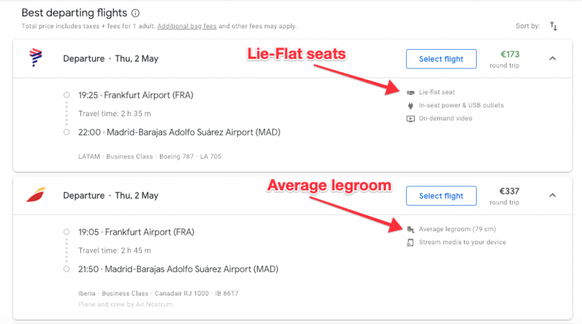 Google Flights search legroom