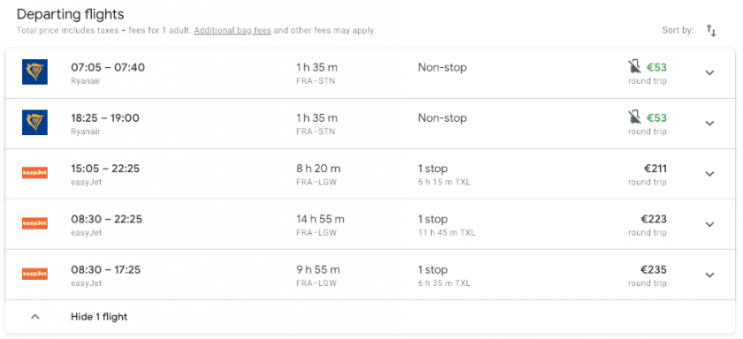 Google Flights search low cost carrier