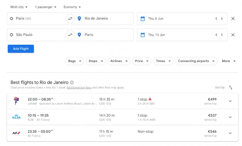 Google Flights search open jaw
