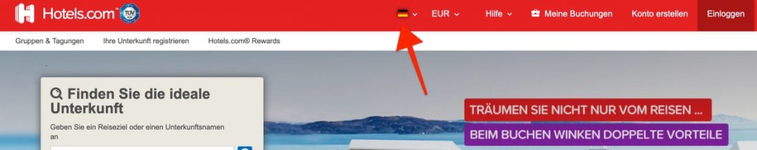 Hotels.com Change Country