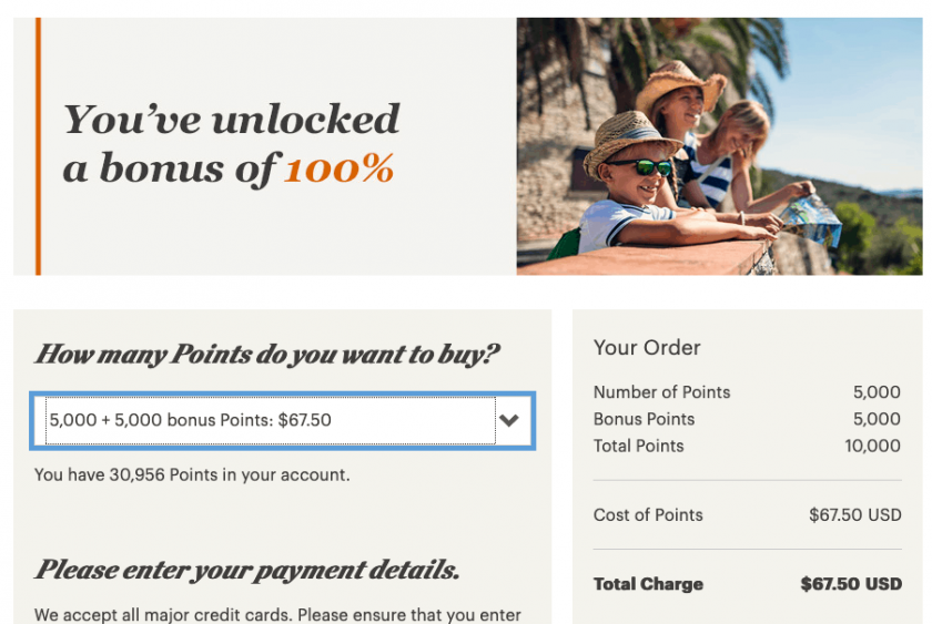 IHG rewards 100 percent bonus