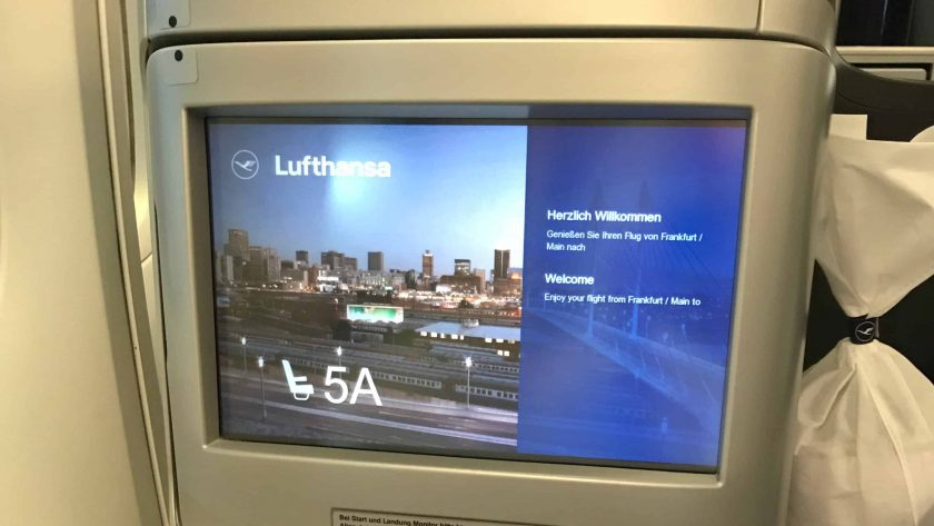 Lufthansa Business Class Screen