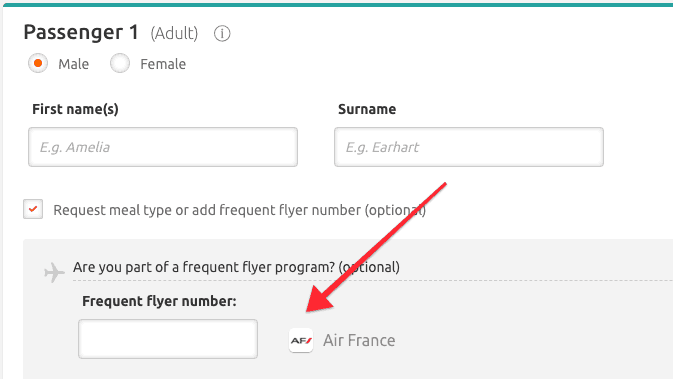 Opodo Frequent Flyer numer example