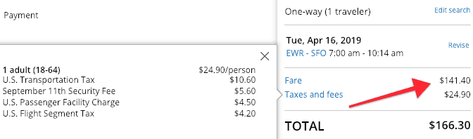 Price Breakdown EWR SFO