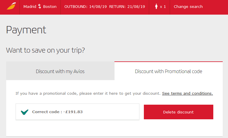 Redeem Iberia Coupon II