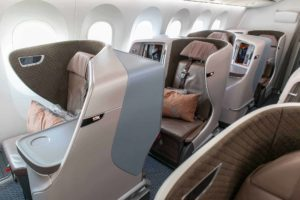 Singapore Airlines Boeing 787 10 Business Class Cabin