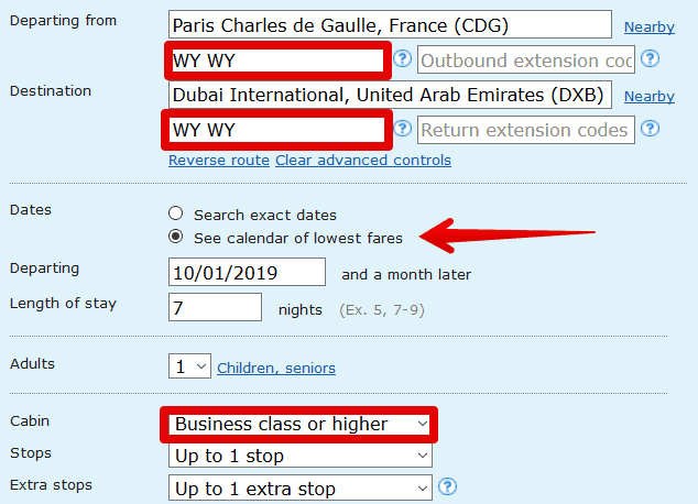WY CDG DXB instructions