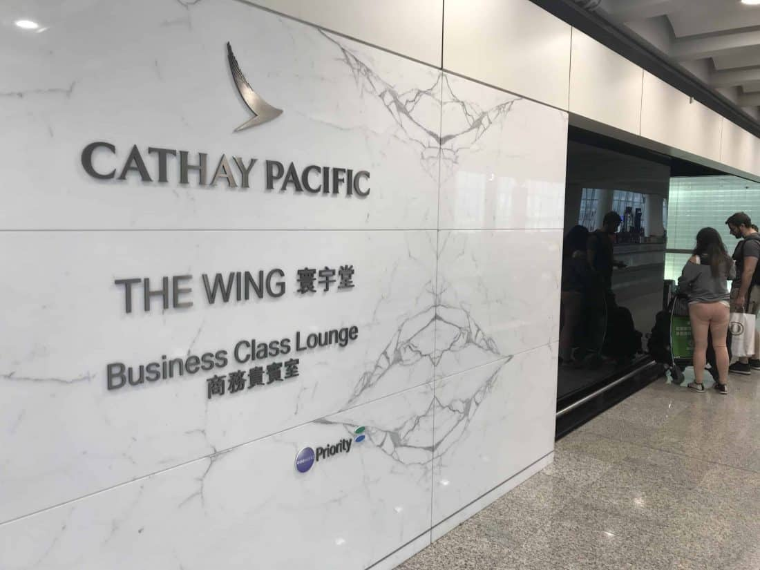 Cathay Pacific Business Class Review Lounge The Wing Entrance