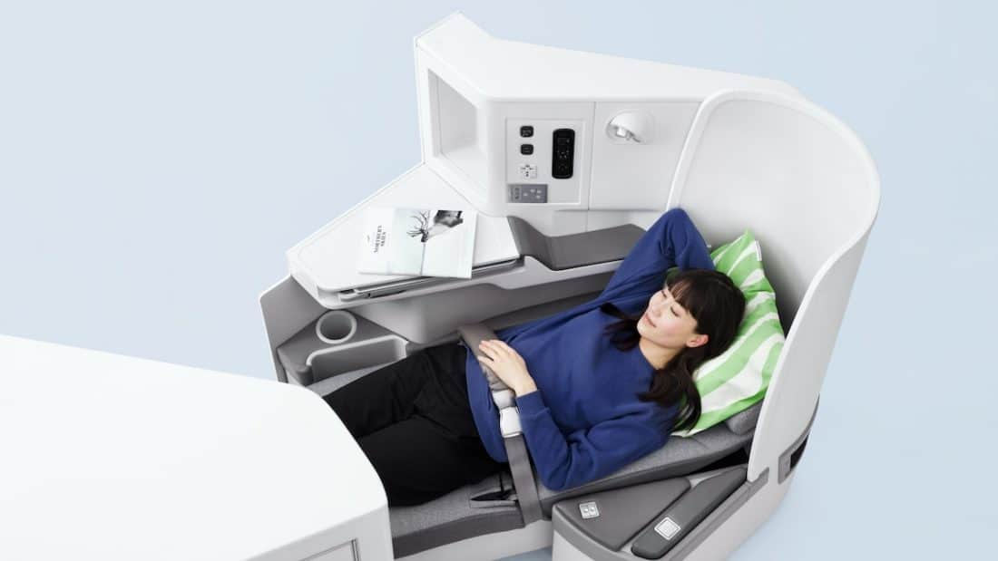 finnair nordic business class asian woman full flat data