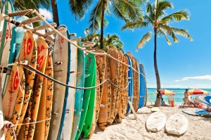 Surfboards in the rack at Waikiki Beach Honolulu